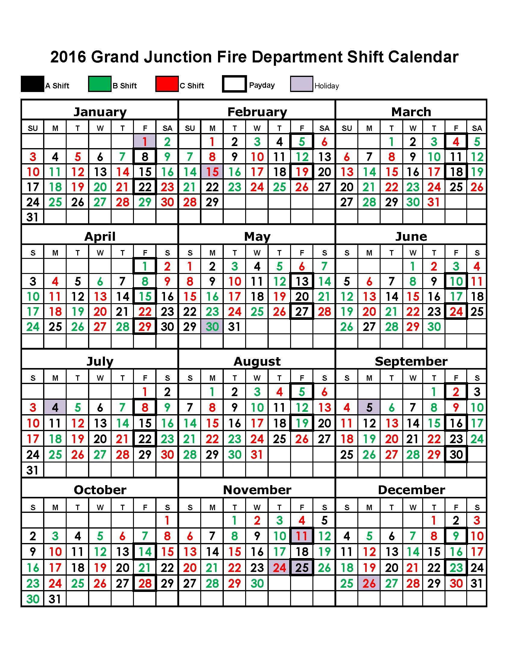 Firefighter Shift Calendar Template | Example Calendar Printable