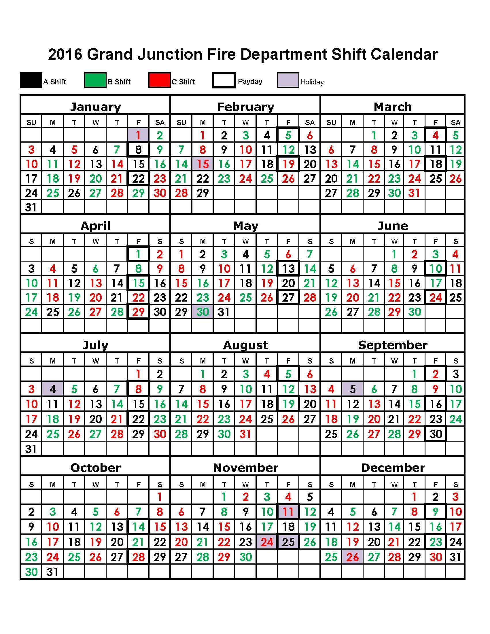 Firefighter Shift Calendar Template | Example Calendar Printable
