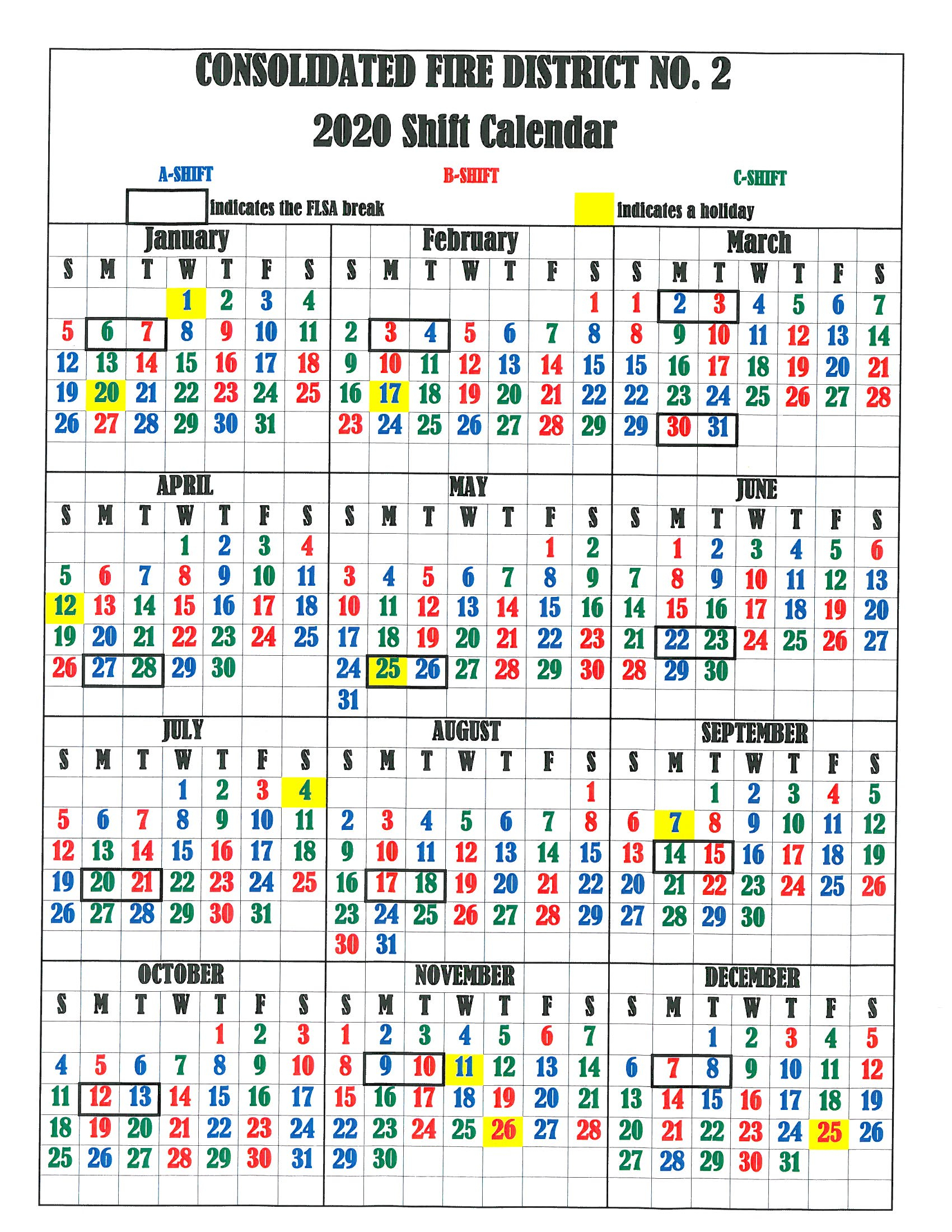 Firefighters Shift Calendar 2019