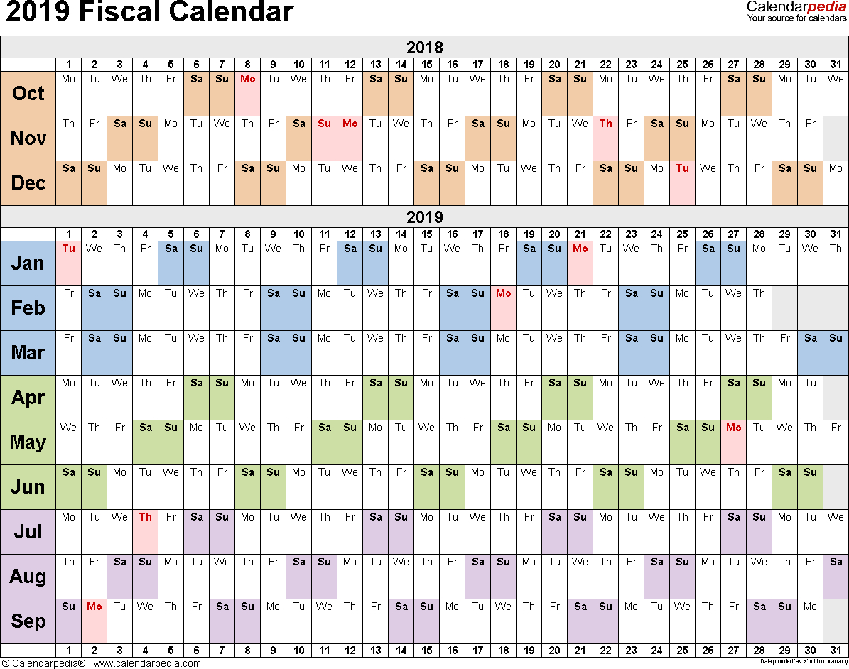 Fiscal Calendars 2019 As Free Printable Pdf Templates
