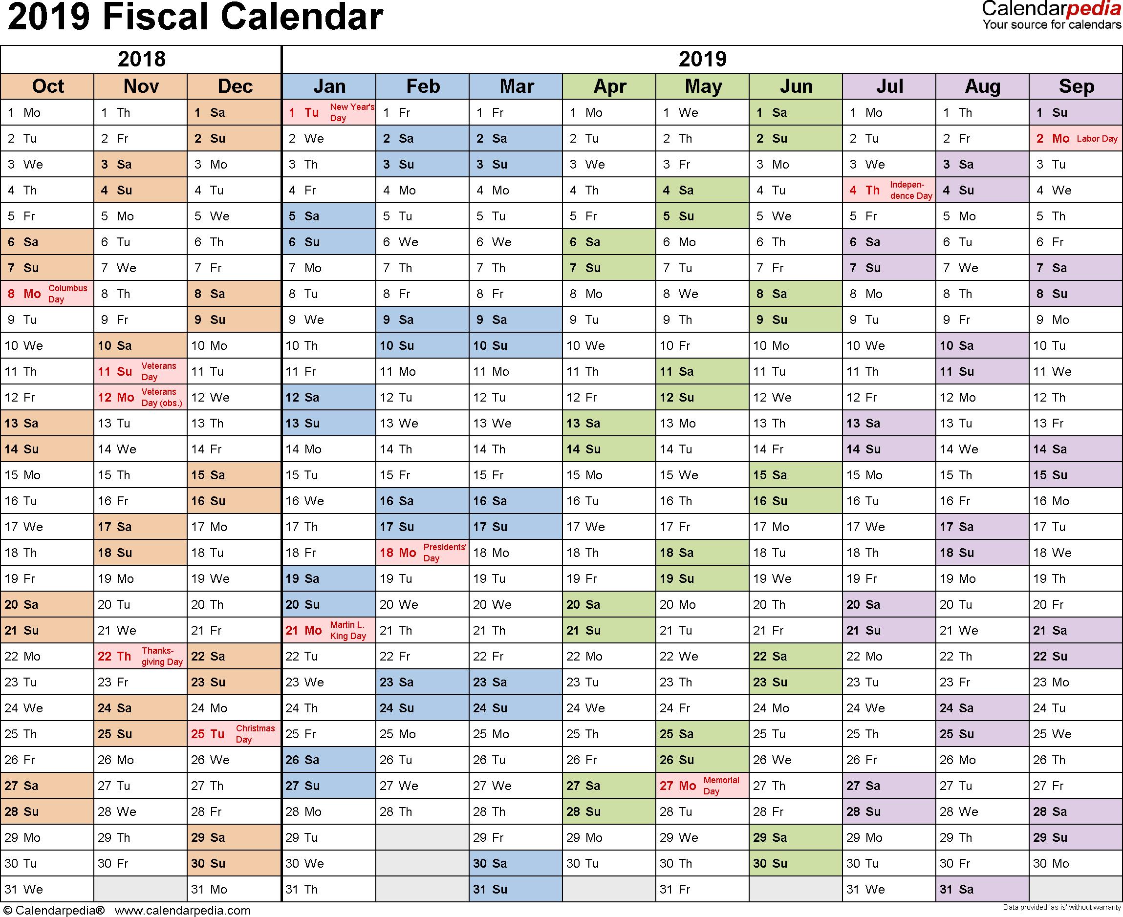 Fiscal Calendars 2019 As Free Printable Pdf Templates