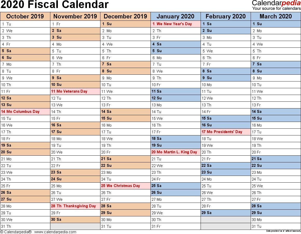 Fiscal Calendars 2020 As Free Printable Pdf Templates