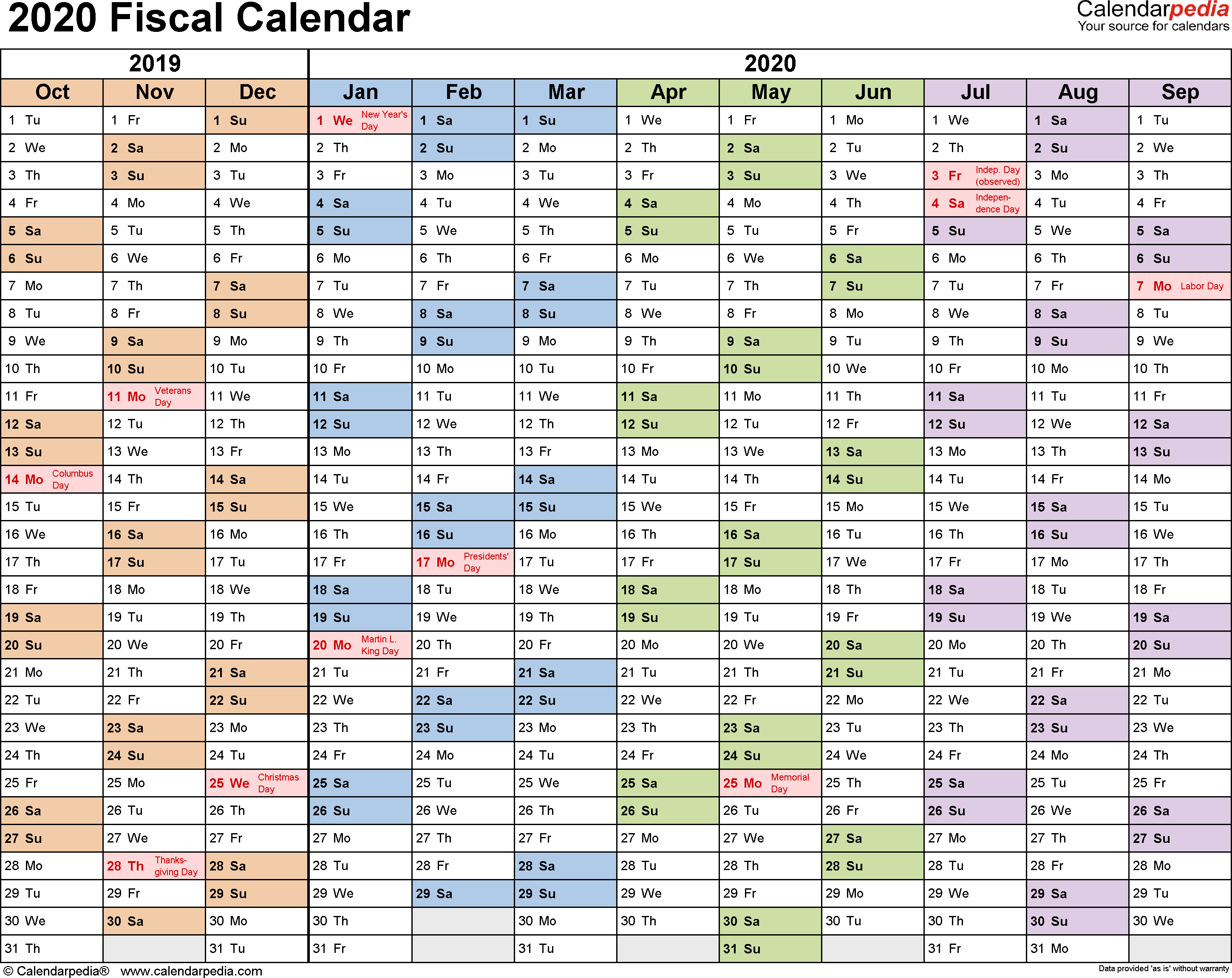 Fiscal Calendars 2020 As Free Printable Pdf Templates
