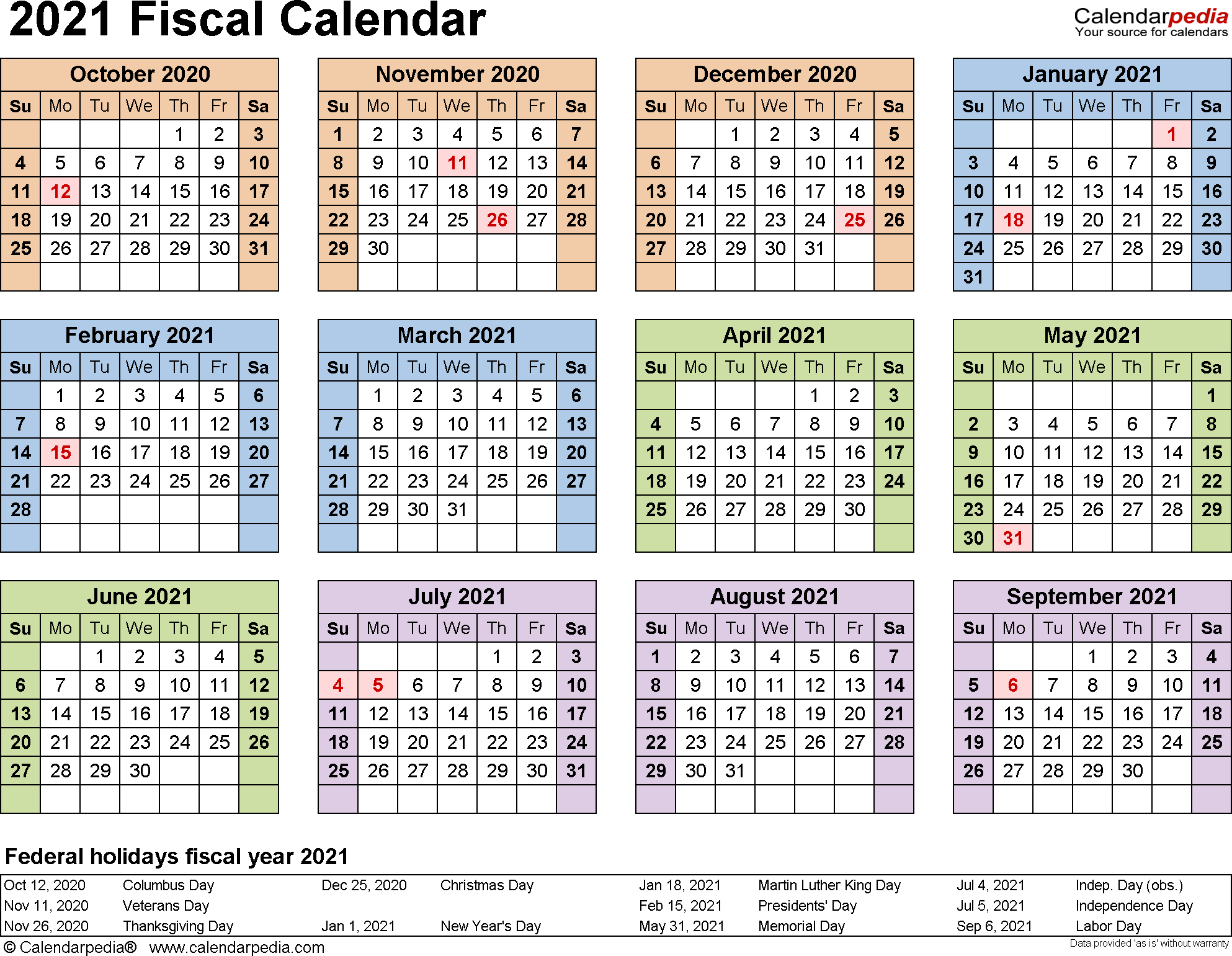 Fiscal Calendars 2021 As Free Printable Pdf Templates