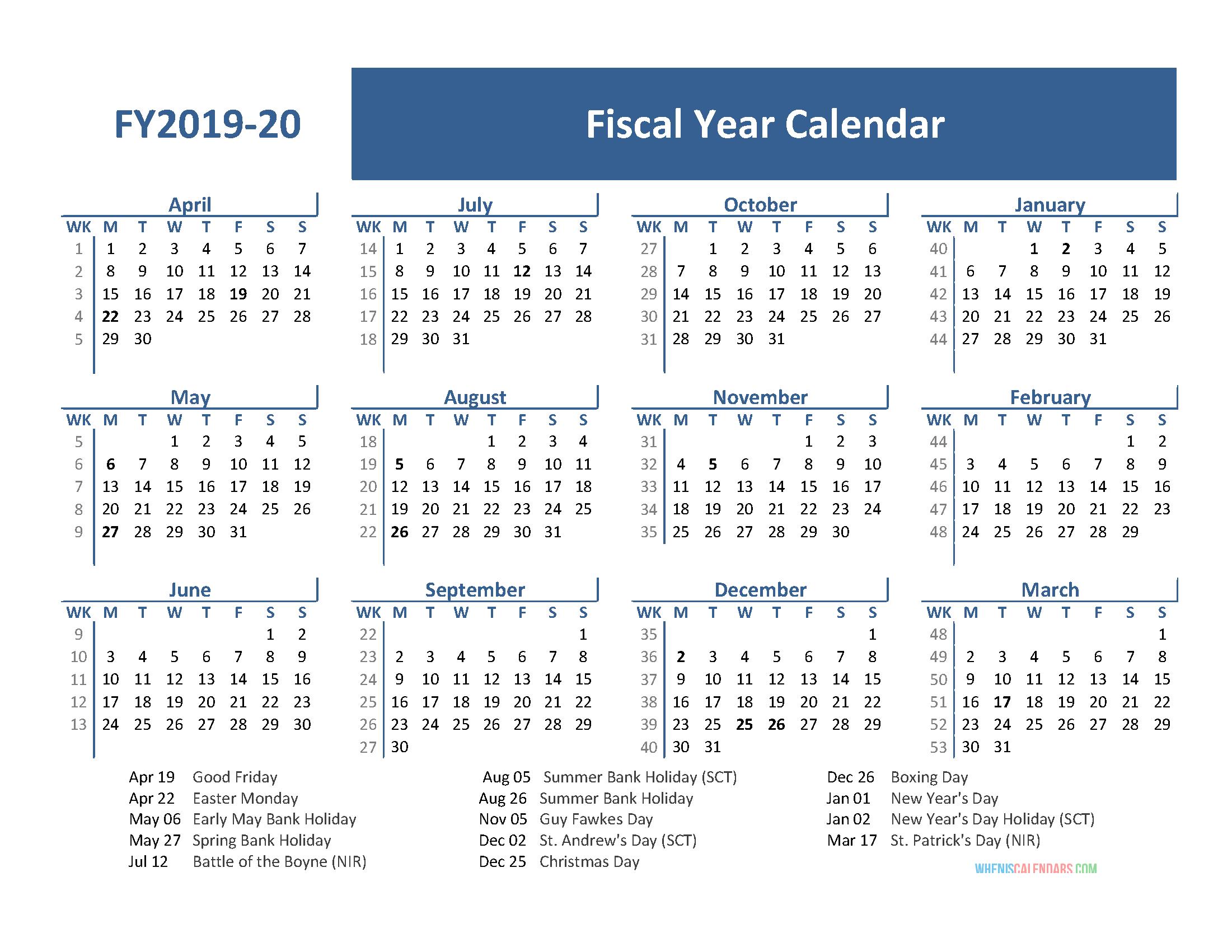 fiscal year calendar 2020 printable
