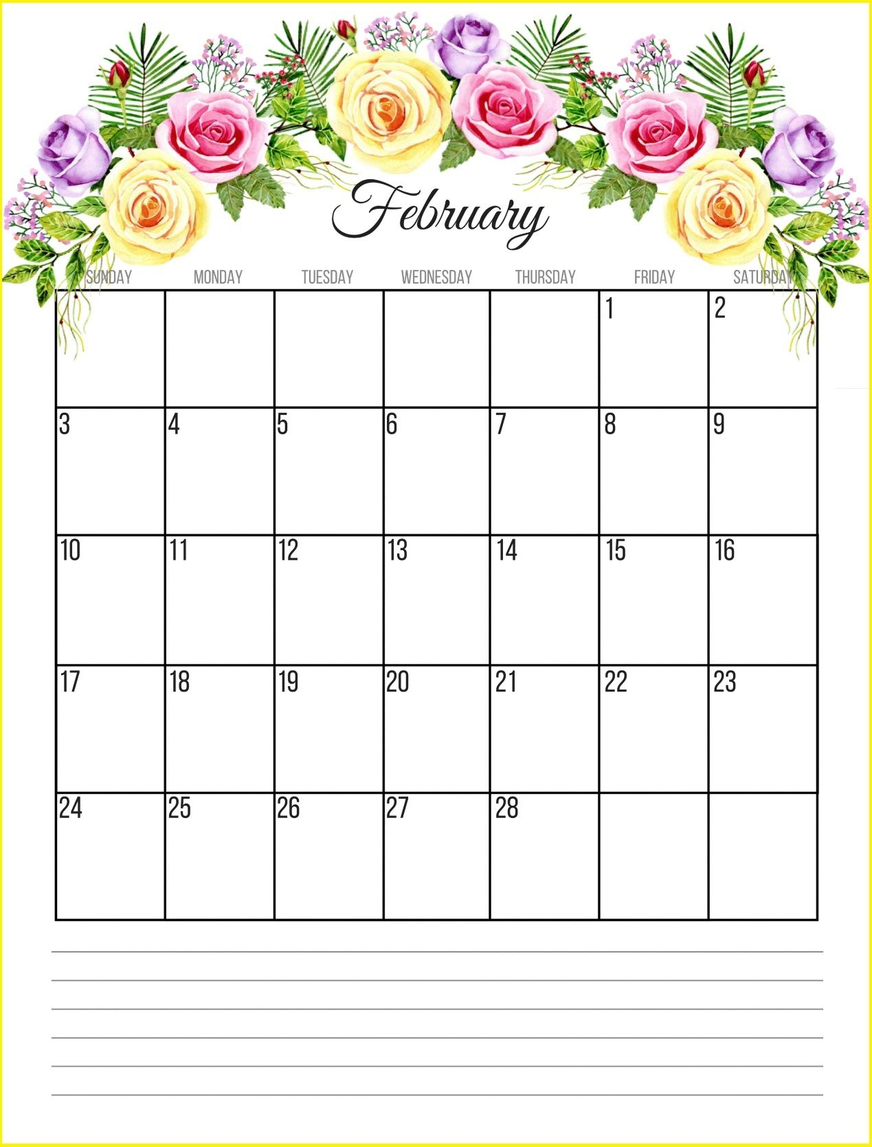 Floral February 2019 Calendar Monthly Templates Free