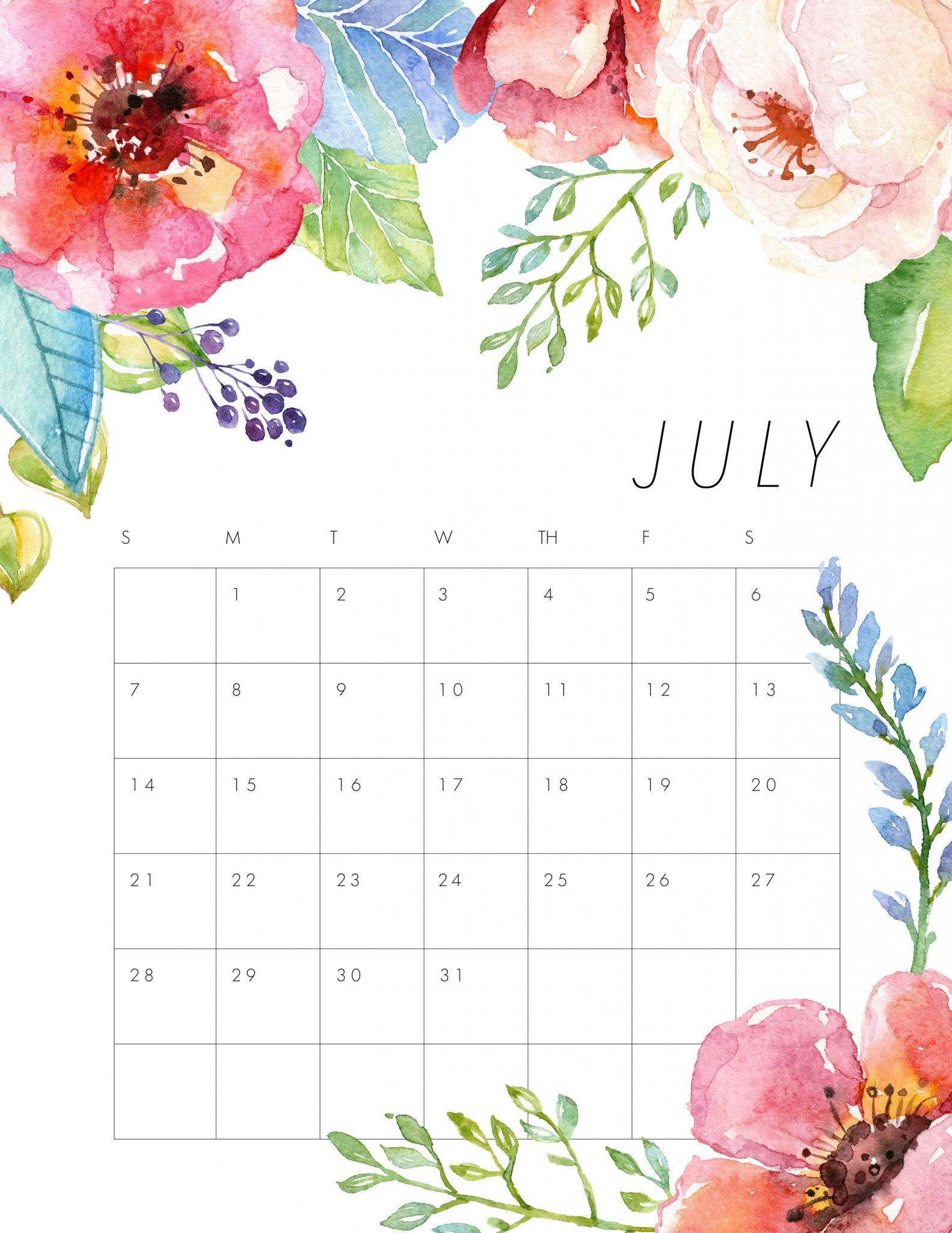 Floral July Calendar Printable Template - Free Printable