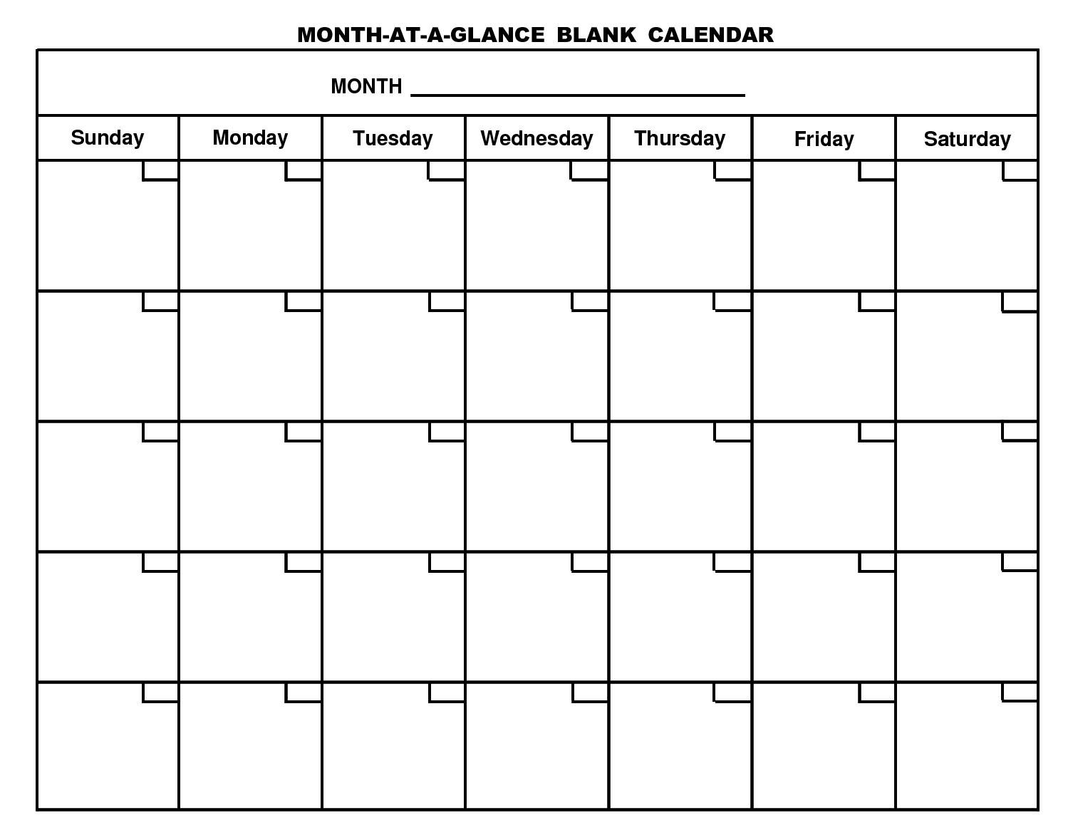 For Month At A Glance Blank Calendar Template - Free