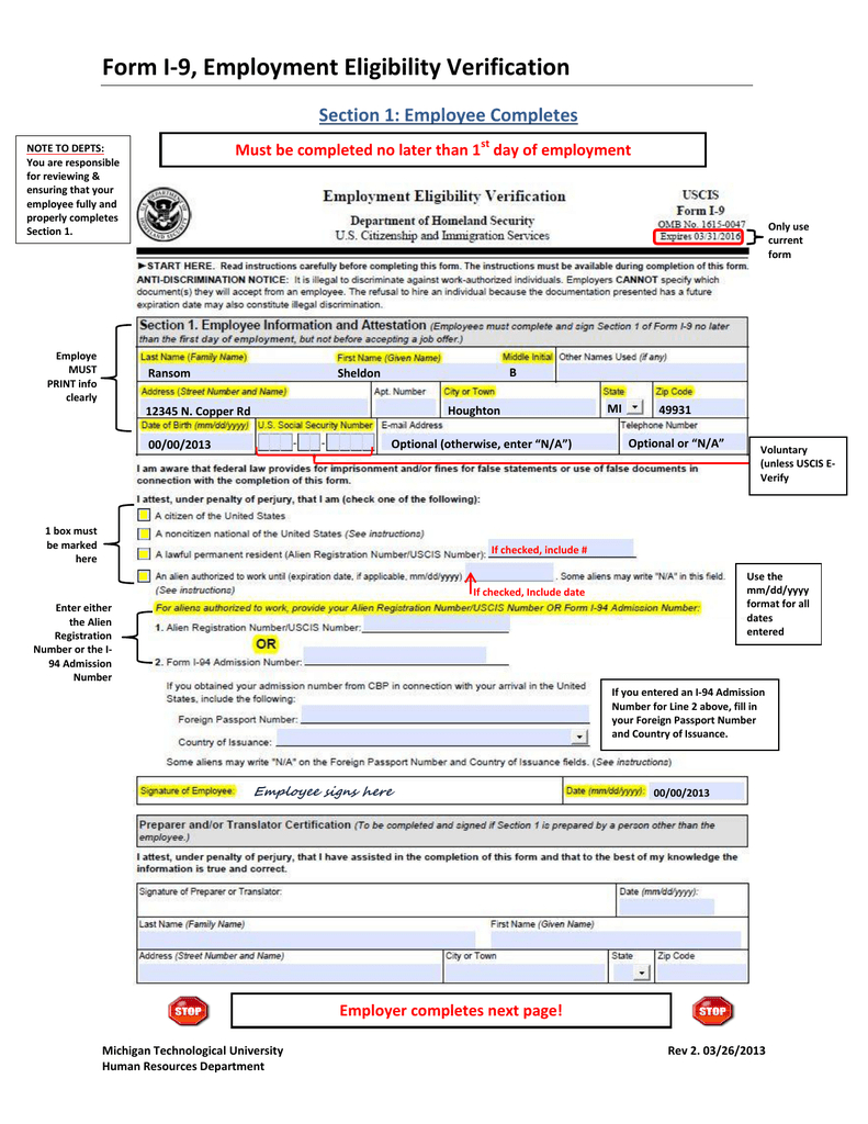 Form I-9, Employment Eligibility Verification Section 1