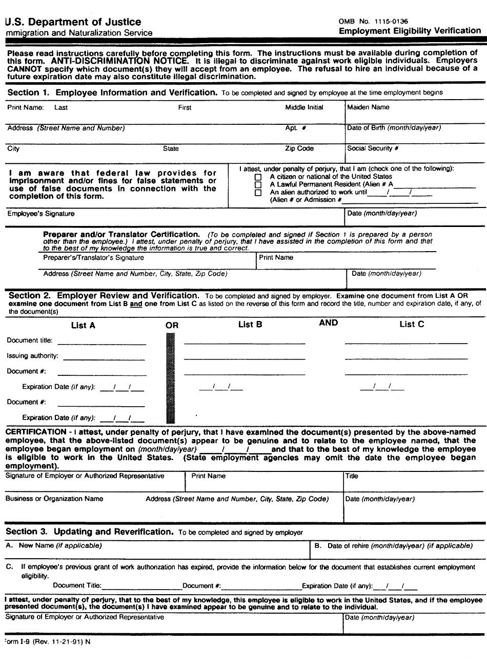 Form I-9 - Employment Eligibility Verification - U.s.
