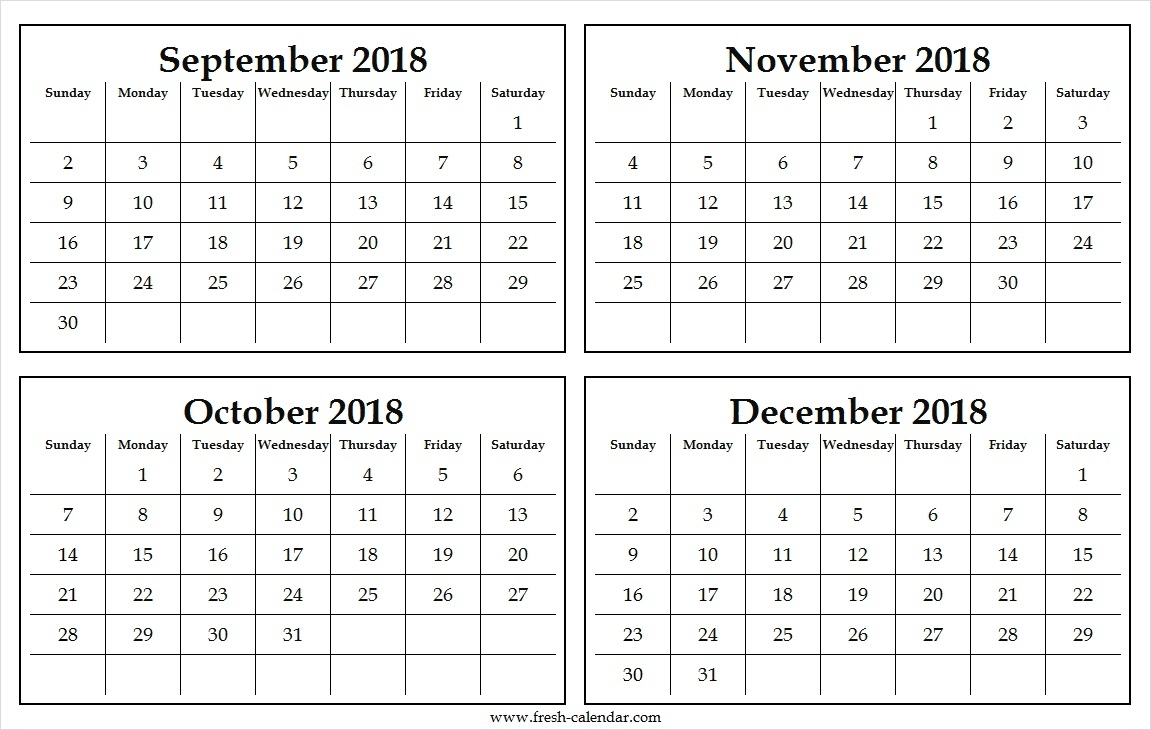 Four Monthly September To December 2018 Calendar Template