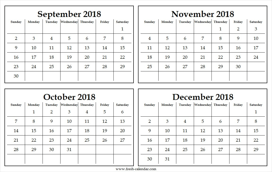 Four Monthly September To December 2018 Calendar Template Free