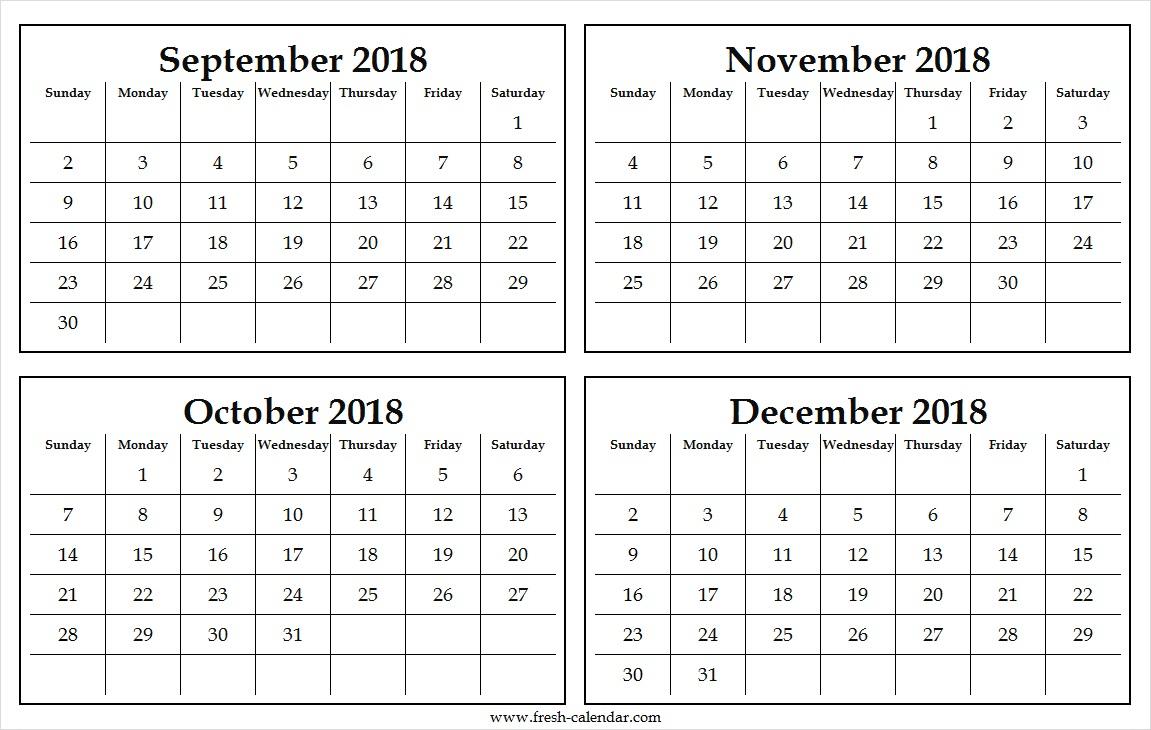Four Monthly September To December 2018 Calendar Template Free