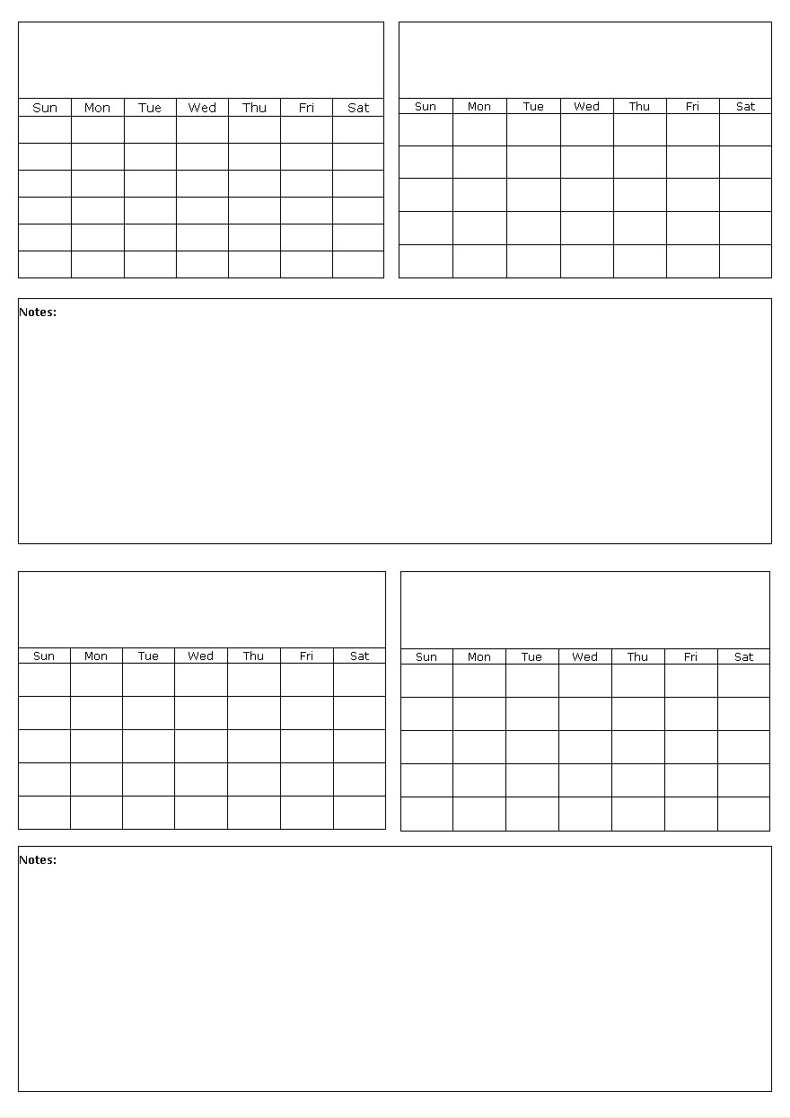 Four Months On A Page Blank Calendar Template