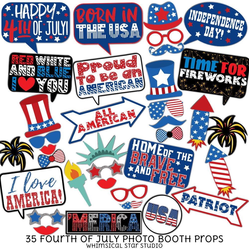 Fourth Of July - 35 Printable Props, Independence Day