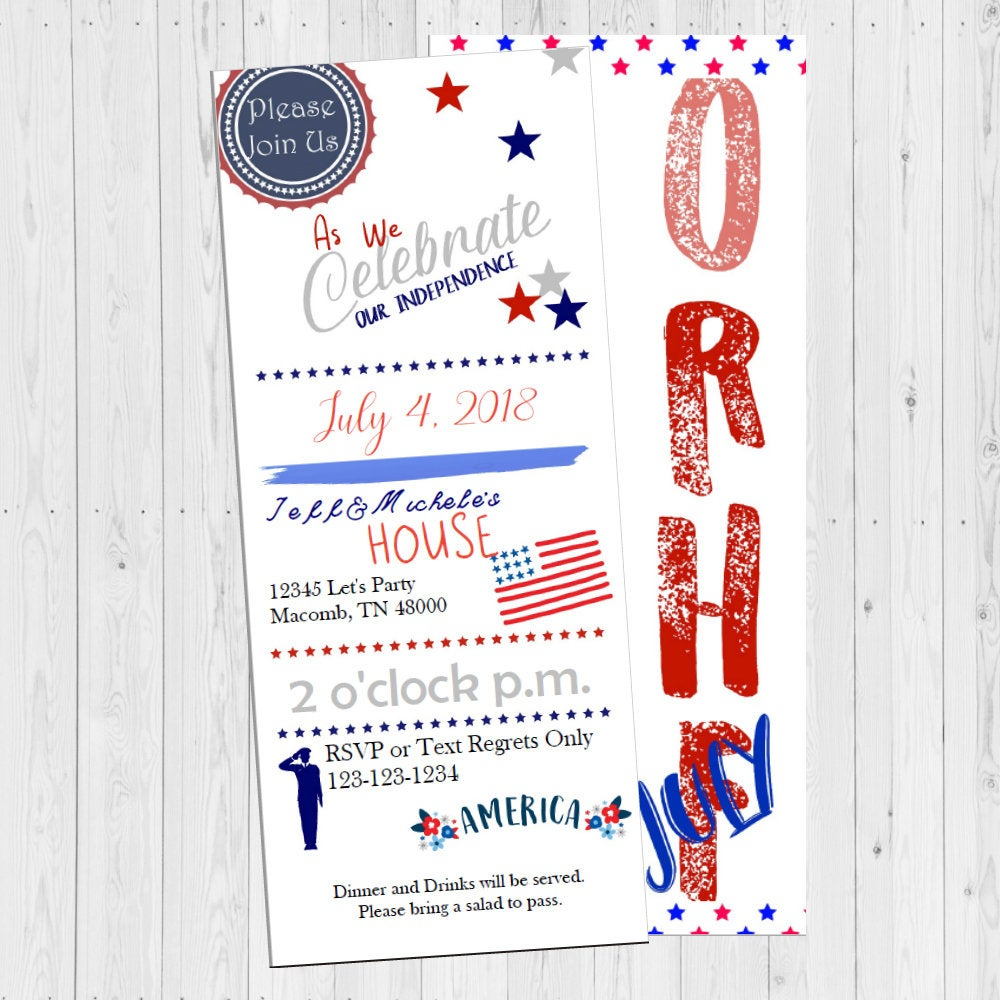 Fourth Of July / 4Th Of July Invitation / July 4Th Invites / Independence  Day Invitation / 4Th Of July Invites / Custom Invitations