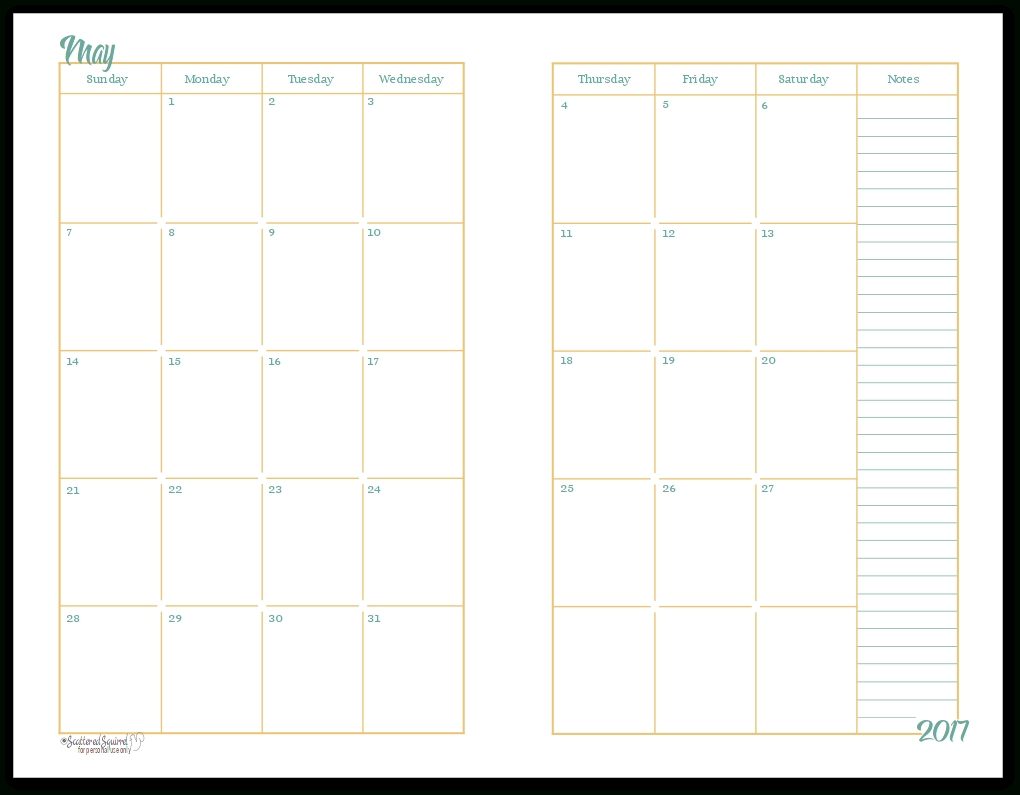 Free 2 Page Monthly Calendar Template • Printable Blank