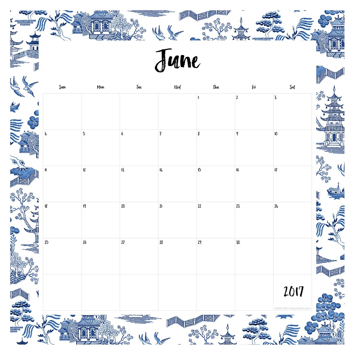 Free 2017 Printable Calendar | Pickychicken