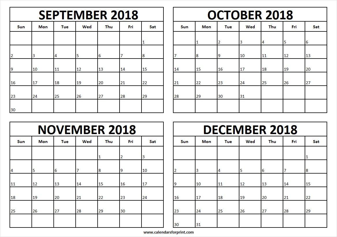 Free 2018 September To December Calendar Printable