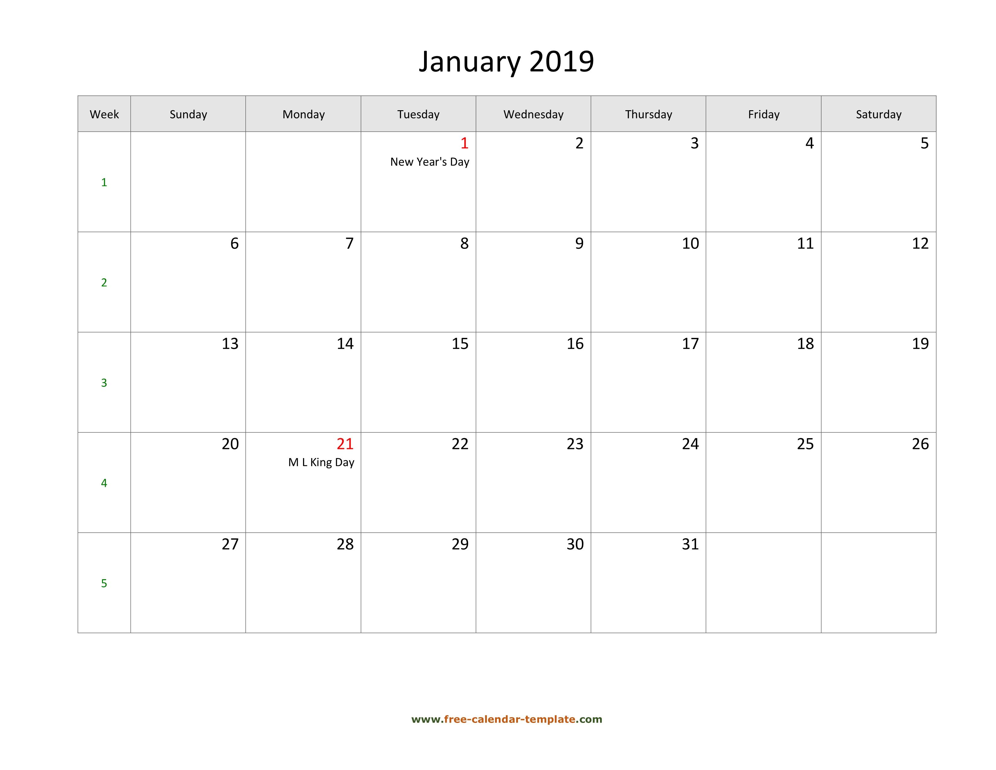 Free 2019 Calendar Blank January Template (Horizontal