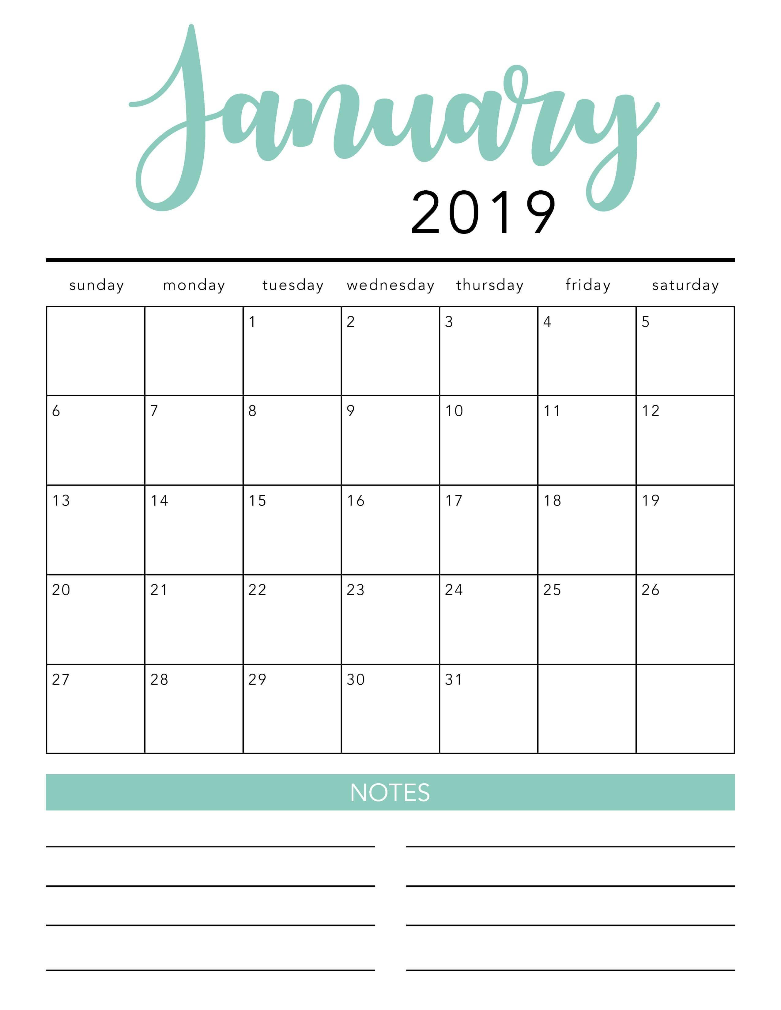 Free 2019 Printable Calendar Template 2 Colors I Heart