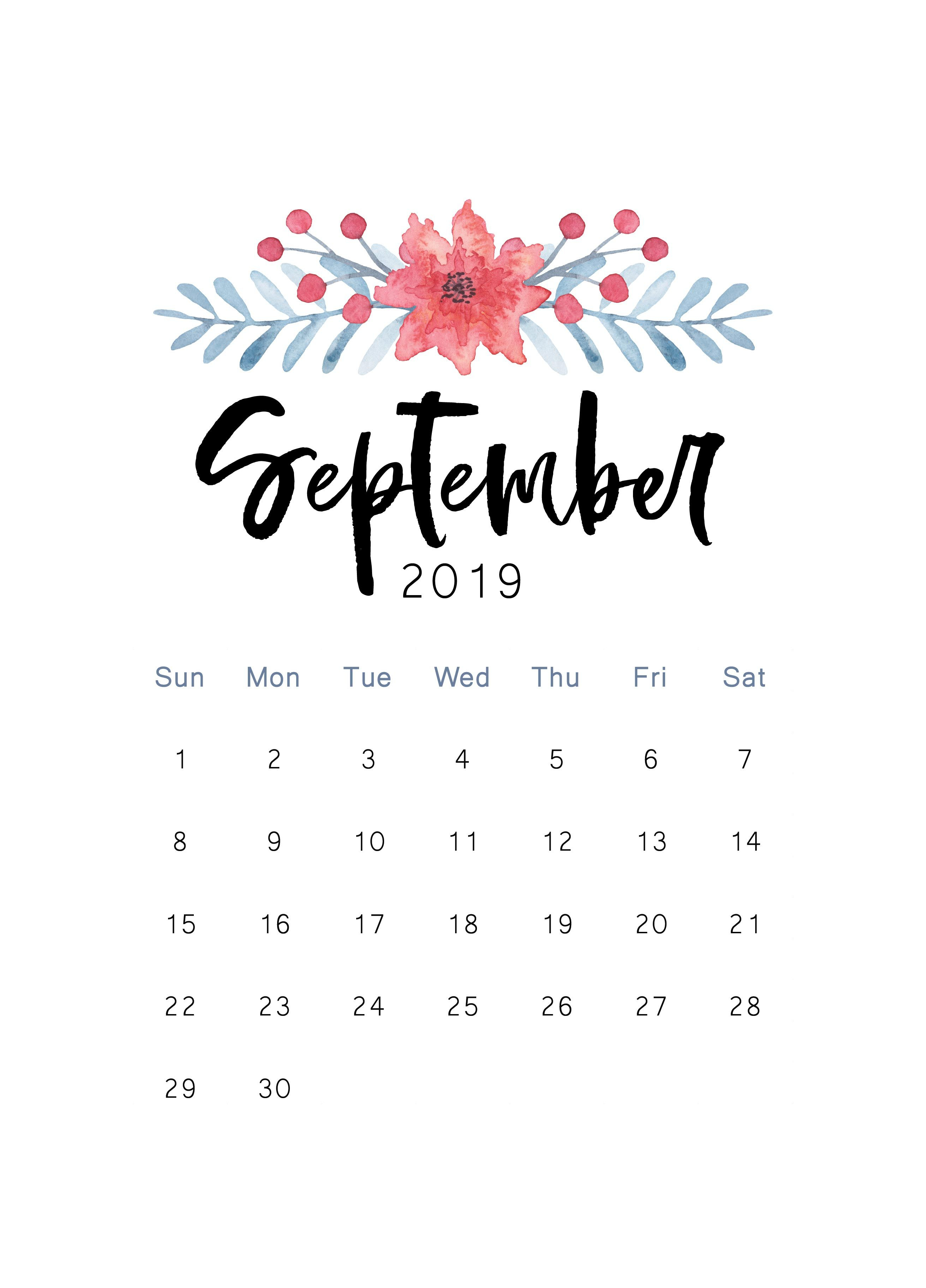 Free 2019 Printable Calendar   Wallpaper   Пустой Календарь