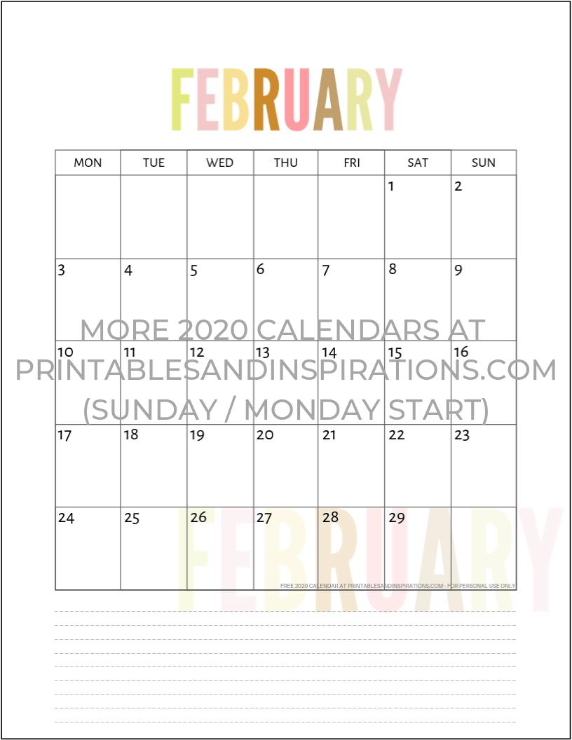 Free 2020 Calendar Printable Planner Pdf | Calendar