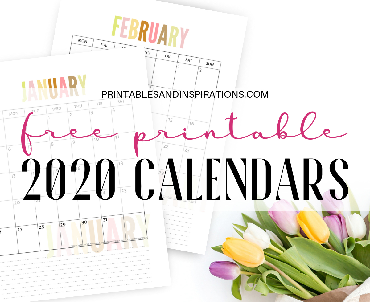 Free 2020 Calendar Printable Planner Pdf - Printables And