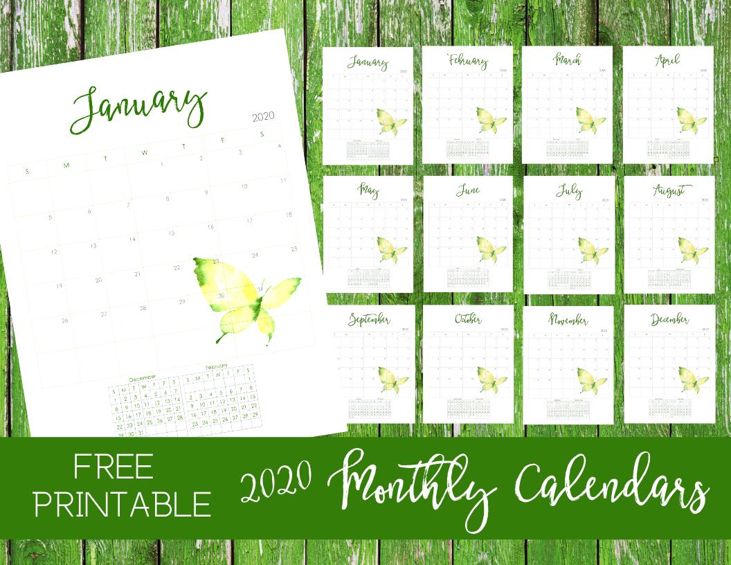 Free 2020 Monthly Calendar Printable -