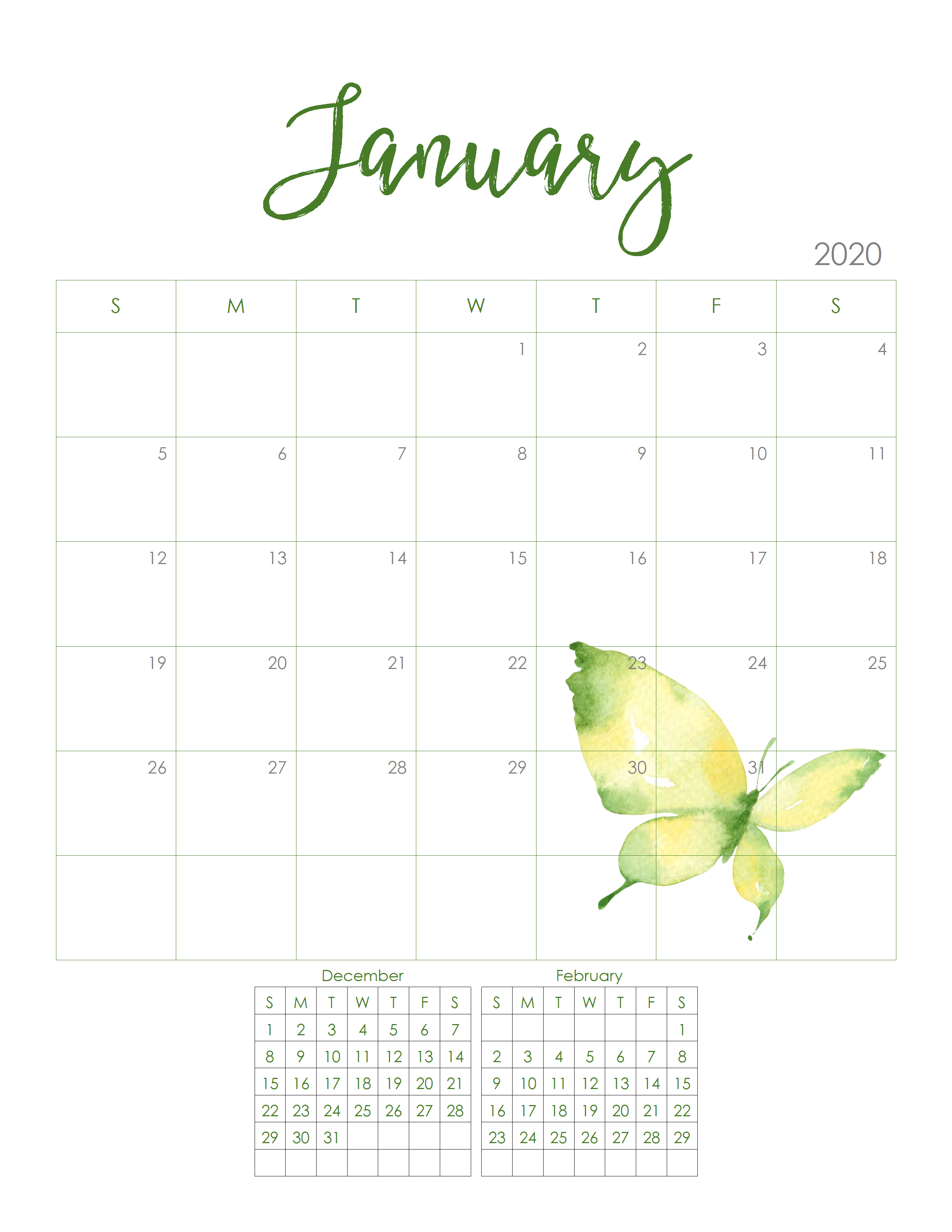 Free 2020 Monthly Calendar Printable -