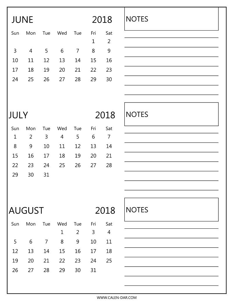 Free 3 Monthly Calendar 2018 June July August Print | 2018