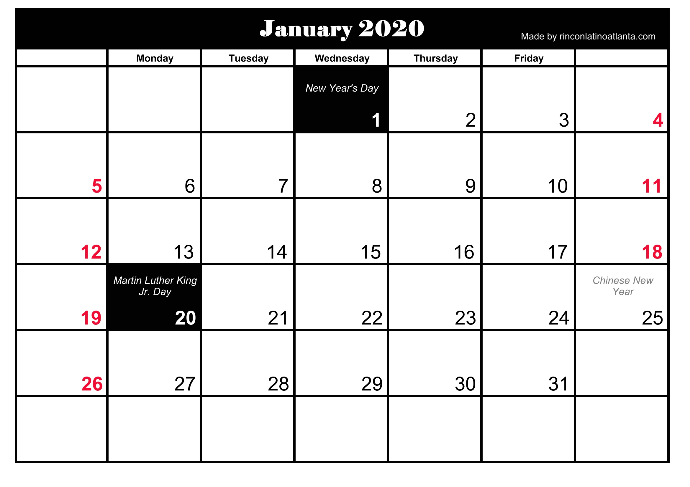 Free 5 Printable January 2020 Calendar | Calendar Template