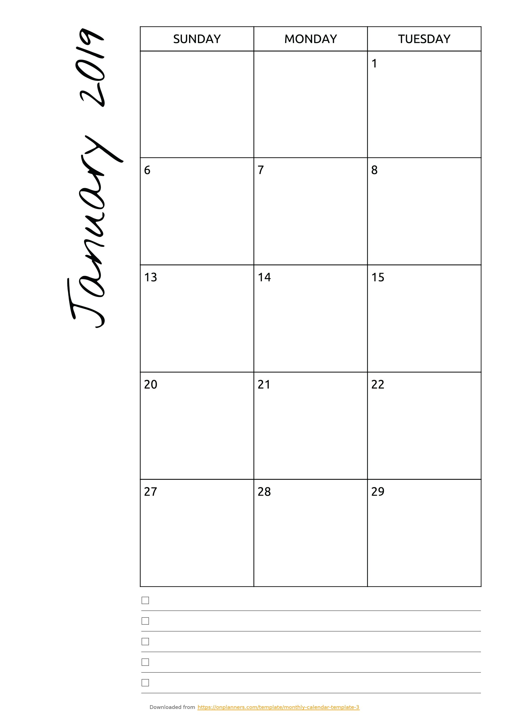 Free 8X10 Calendar Template • Printable Blank Calendar Template