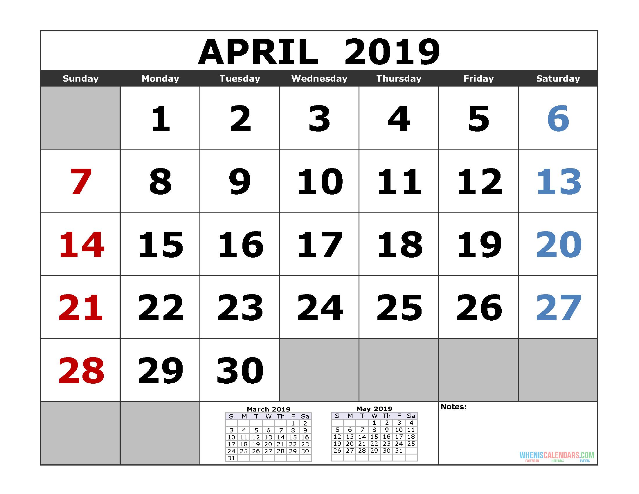 Free April 2019 Printable Calendar Templates [Us. Edition