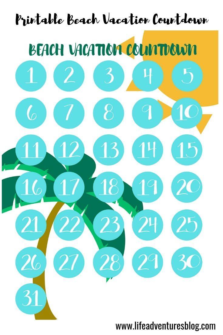Free Beach Vacation Countdown Calendar For Your Next Beach