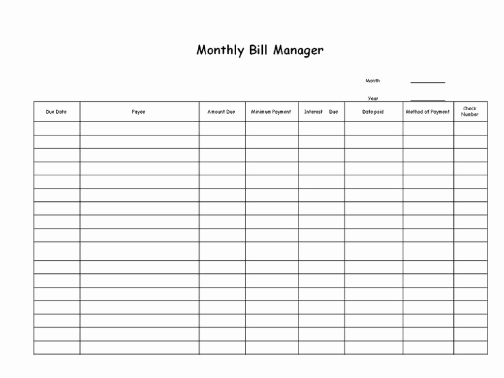 Free Bill Management Spreadsheet Or Free Blank Printable