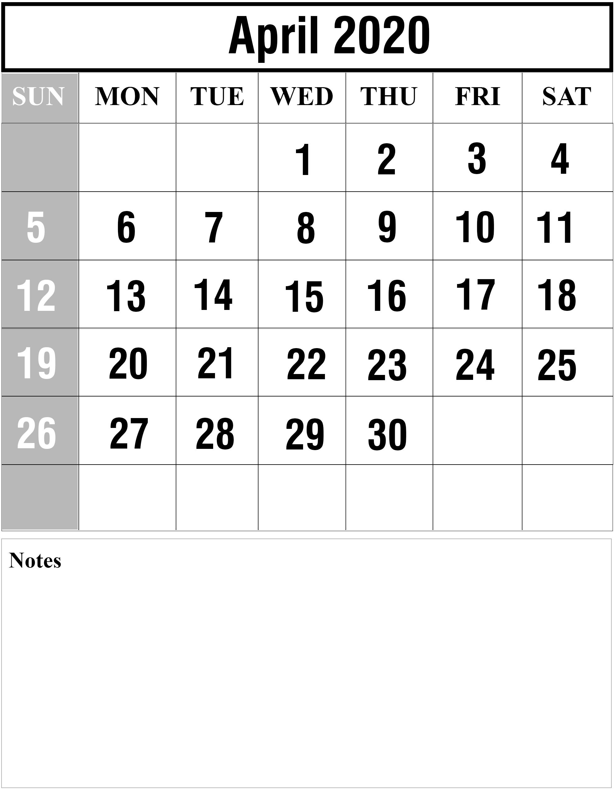 Free Blank April 2020 Printable Calendar [Pdf, Excel & Word