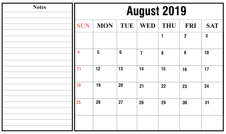 Free Blank August Calendar 2019 Printable Template