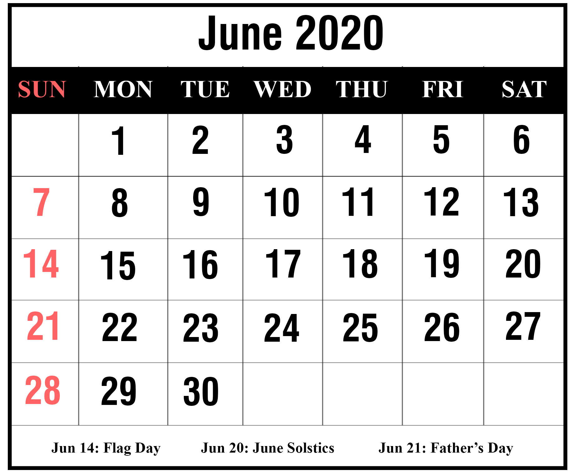 Free Blank June 2020 Printable Calendar With Holidays [Pdf