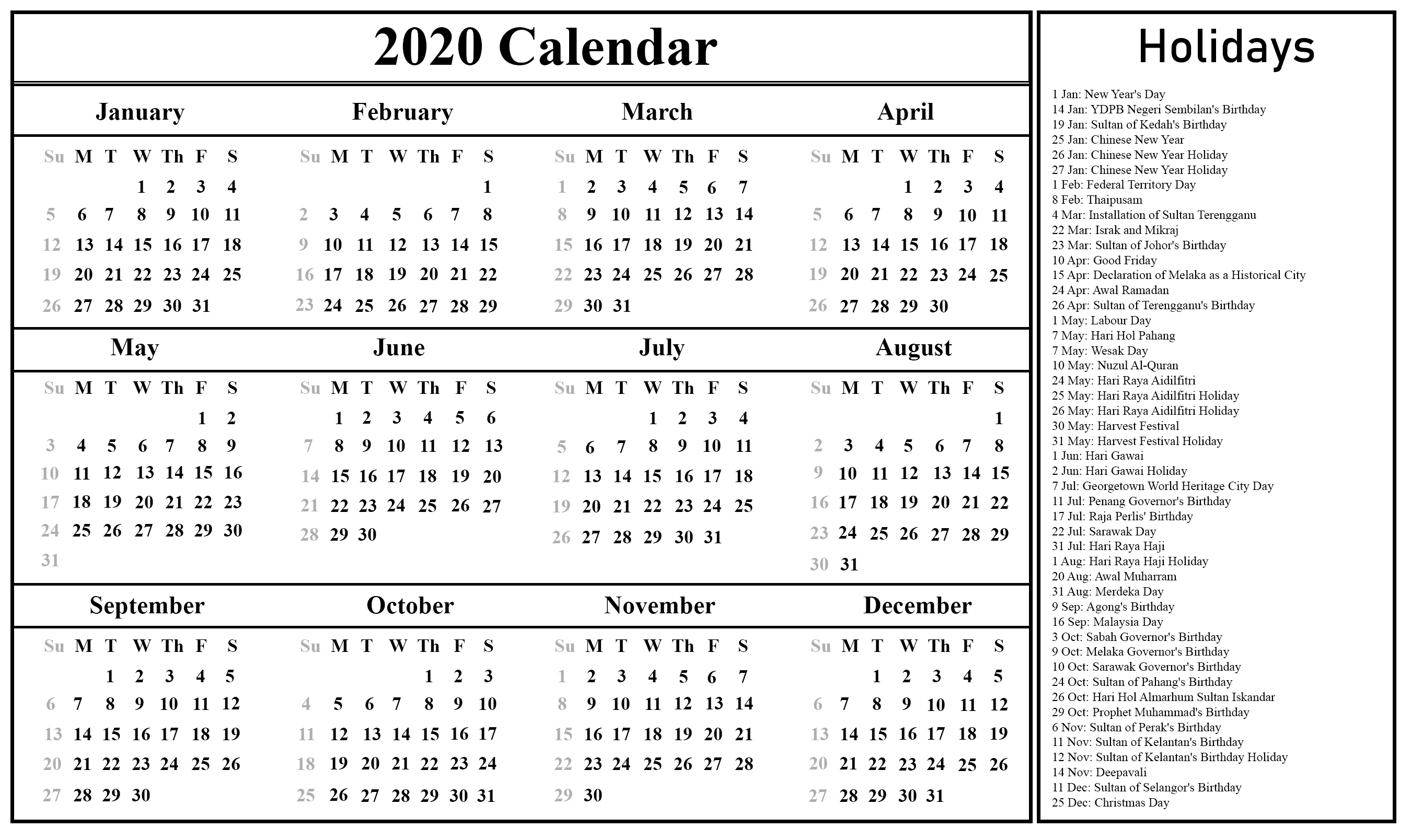 Free Blank Malaysia 2020 Printable Calendar In Pdf, Excel