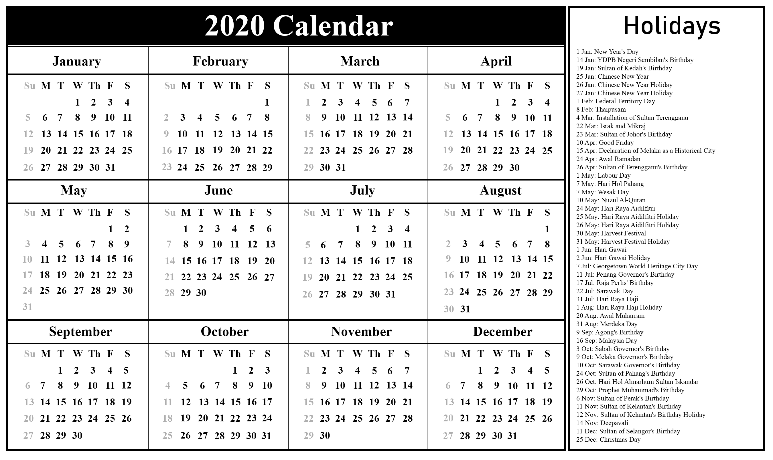 Free Blank Malaysia Calendar 2020 In Pdf, Excel & Word