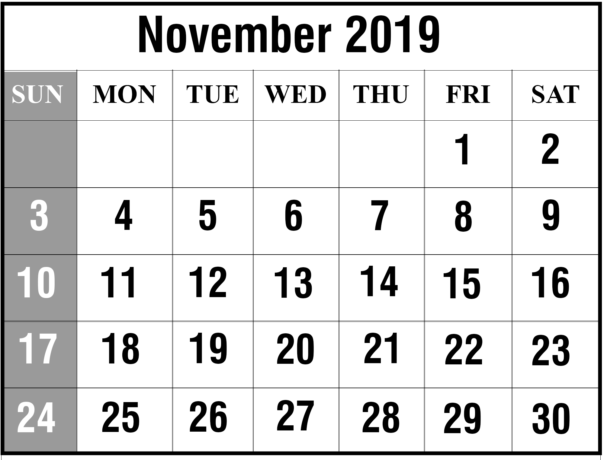 Free Blank November 2019 Printable Calendar In Pdf, Excel