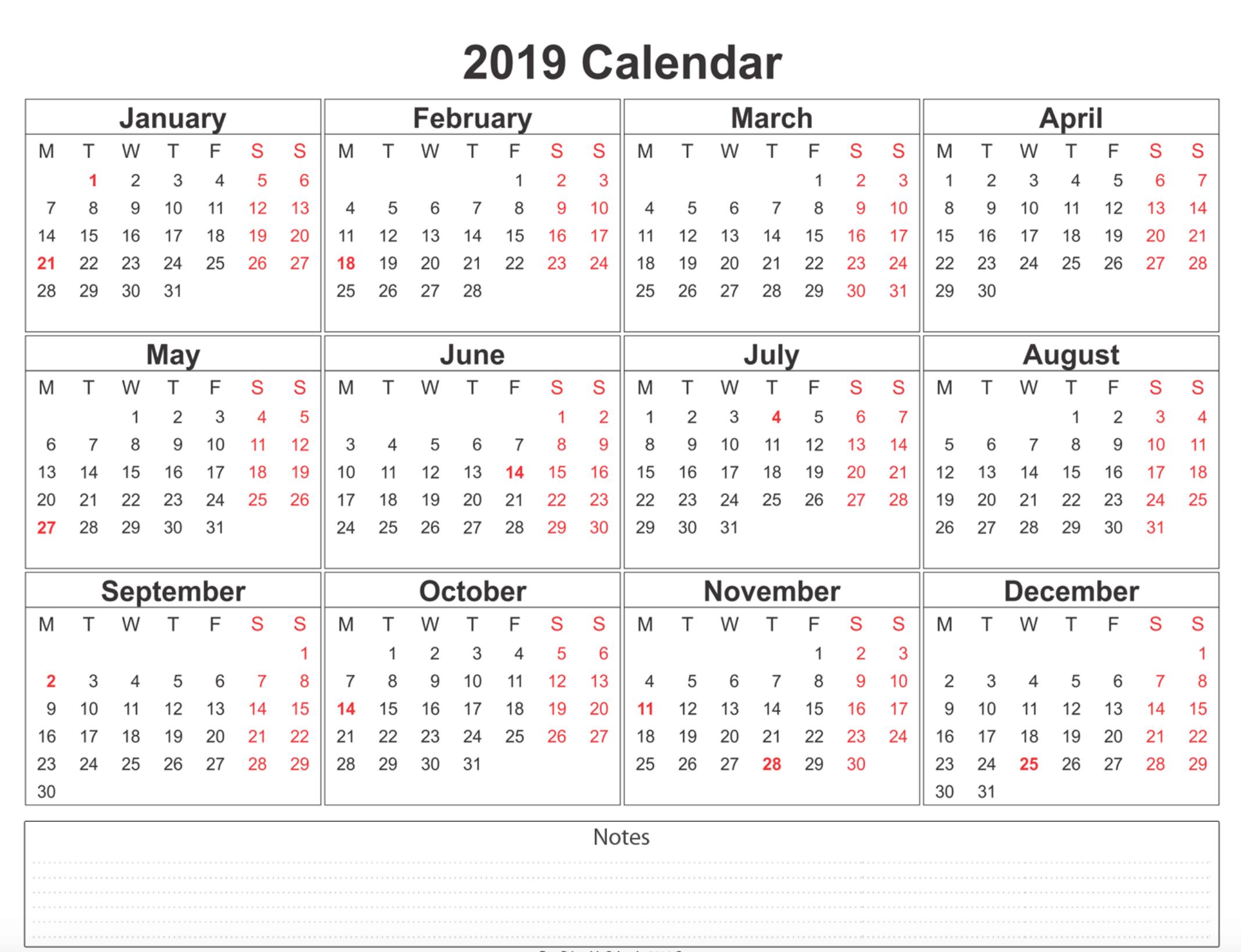 Free Blank Printable Calendar 2019 With Holidays Template