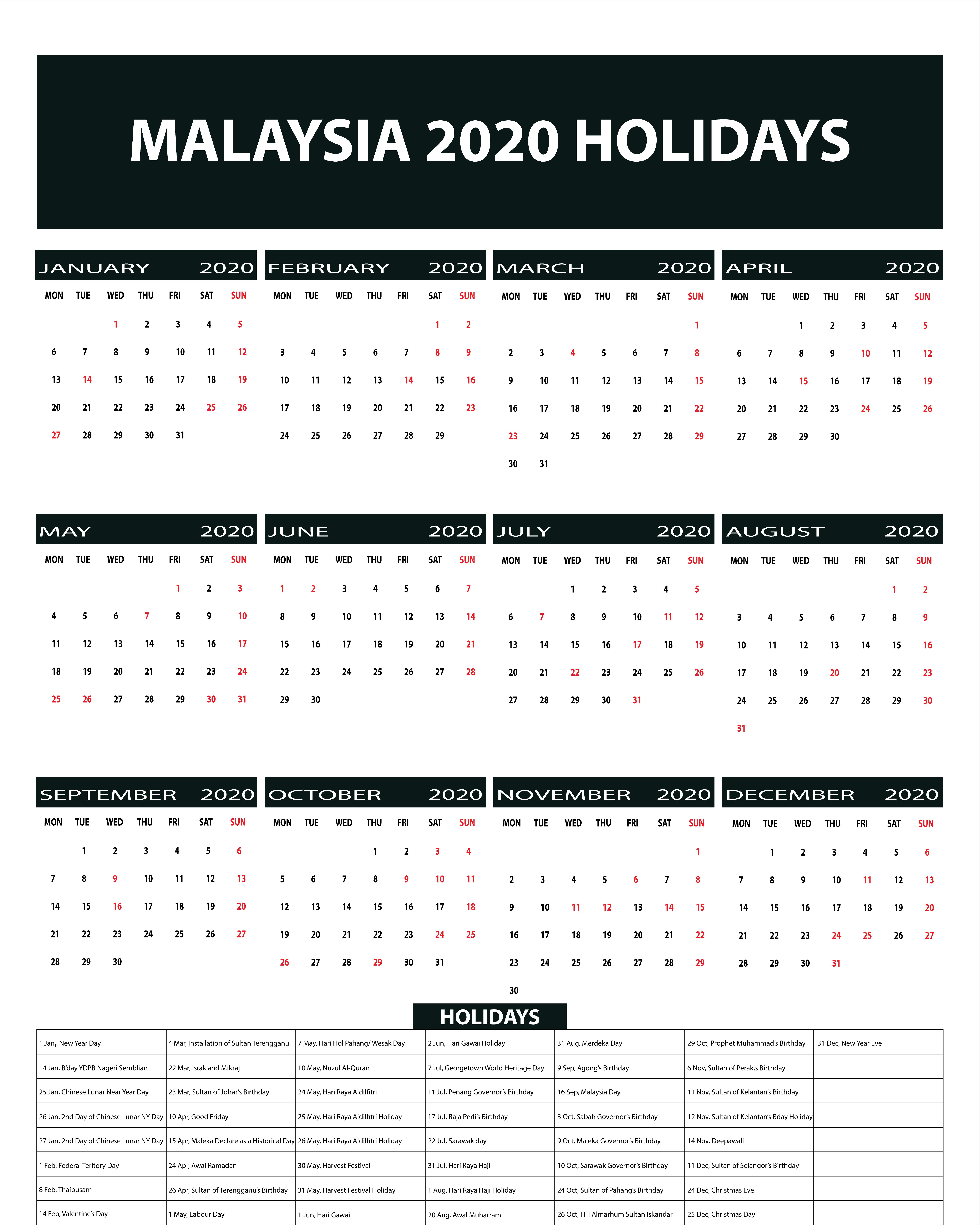 Free Blank & Printable Malaysia Public Holidays 2020