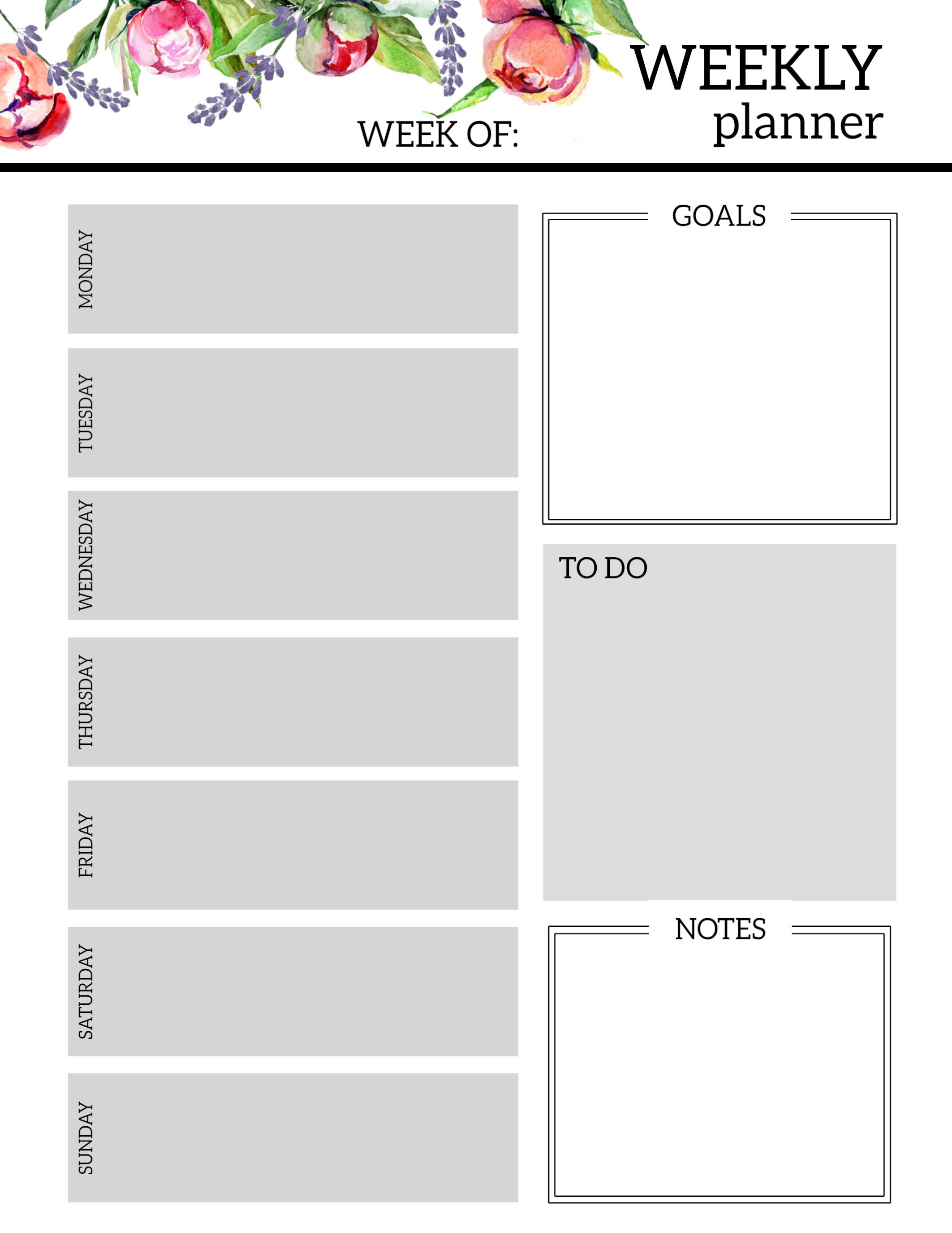 Free Blank Weekly R Template Printable Calendar Templates
