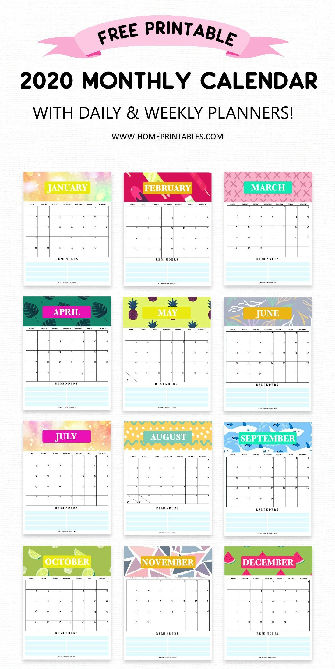 Free Calendar 2020 Printable With Weekly Planner: So Pretty