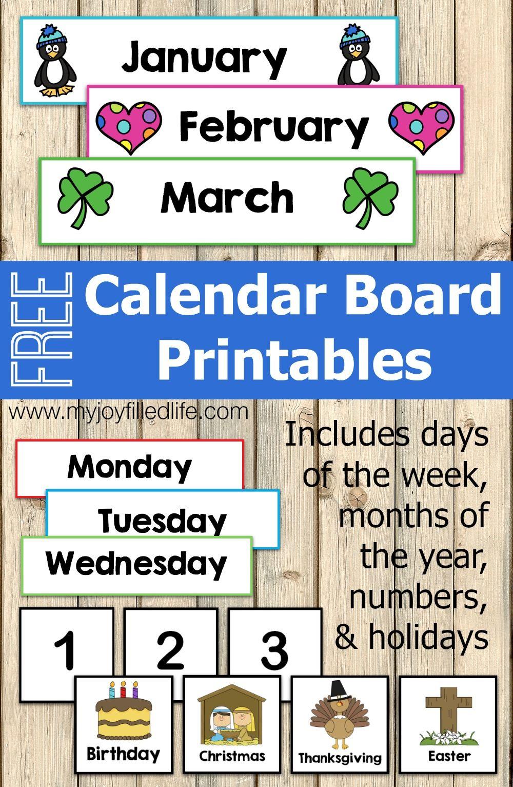 Free Calendar Board Printables | Homeschool | Preschool