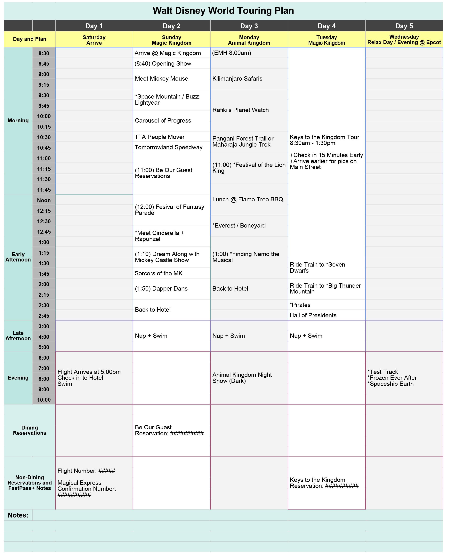 Free Disney World Touring Plan Spreadsheet - Wit & Wander