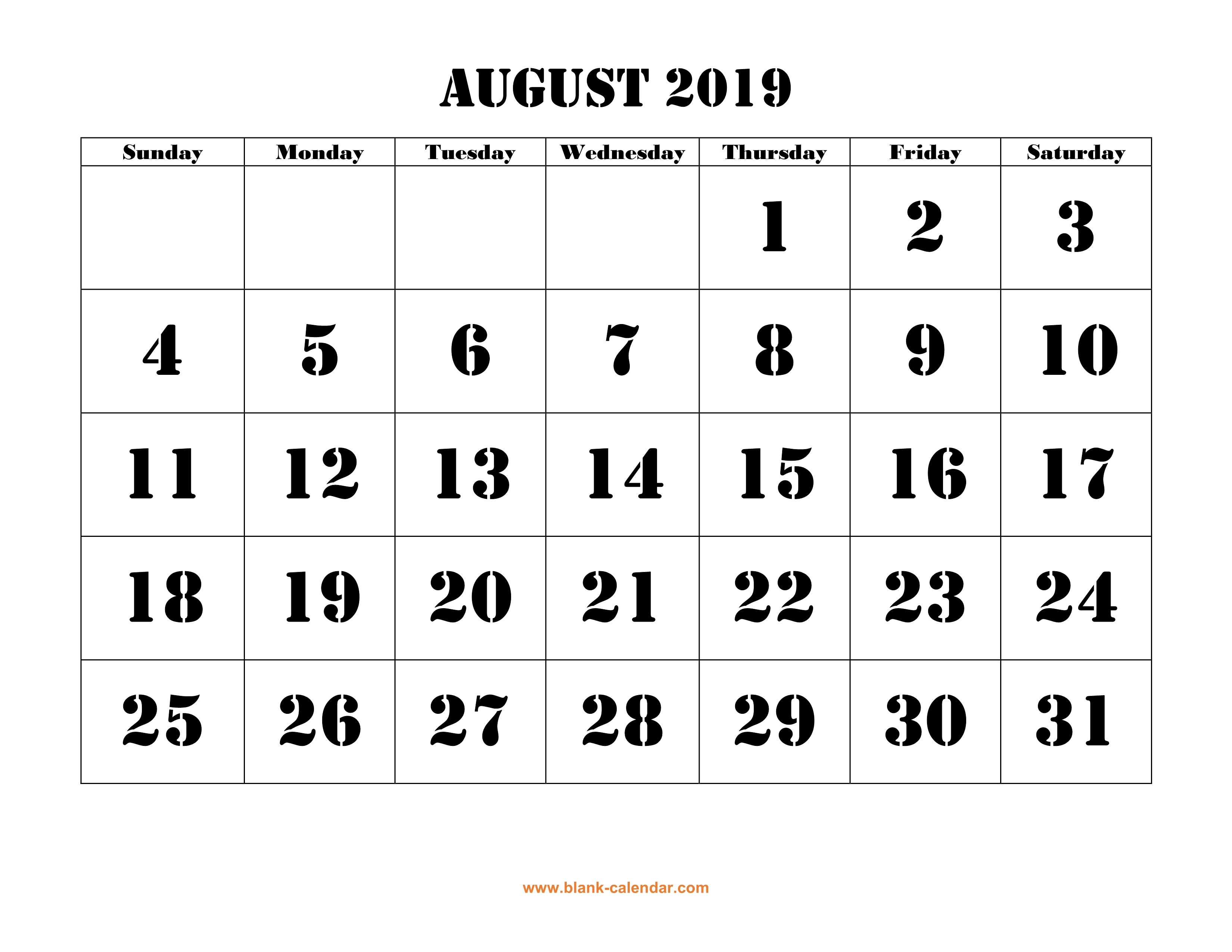 Free Download Printable August 2019 Calendar, Large Font