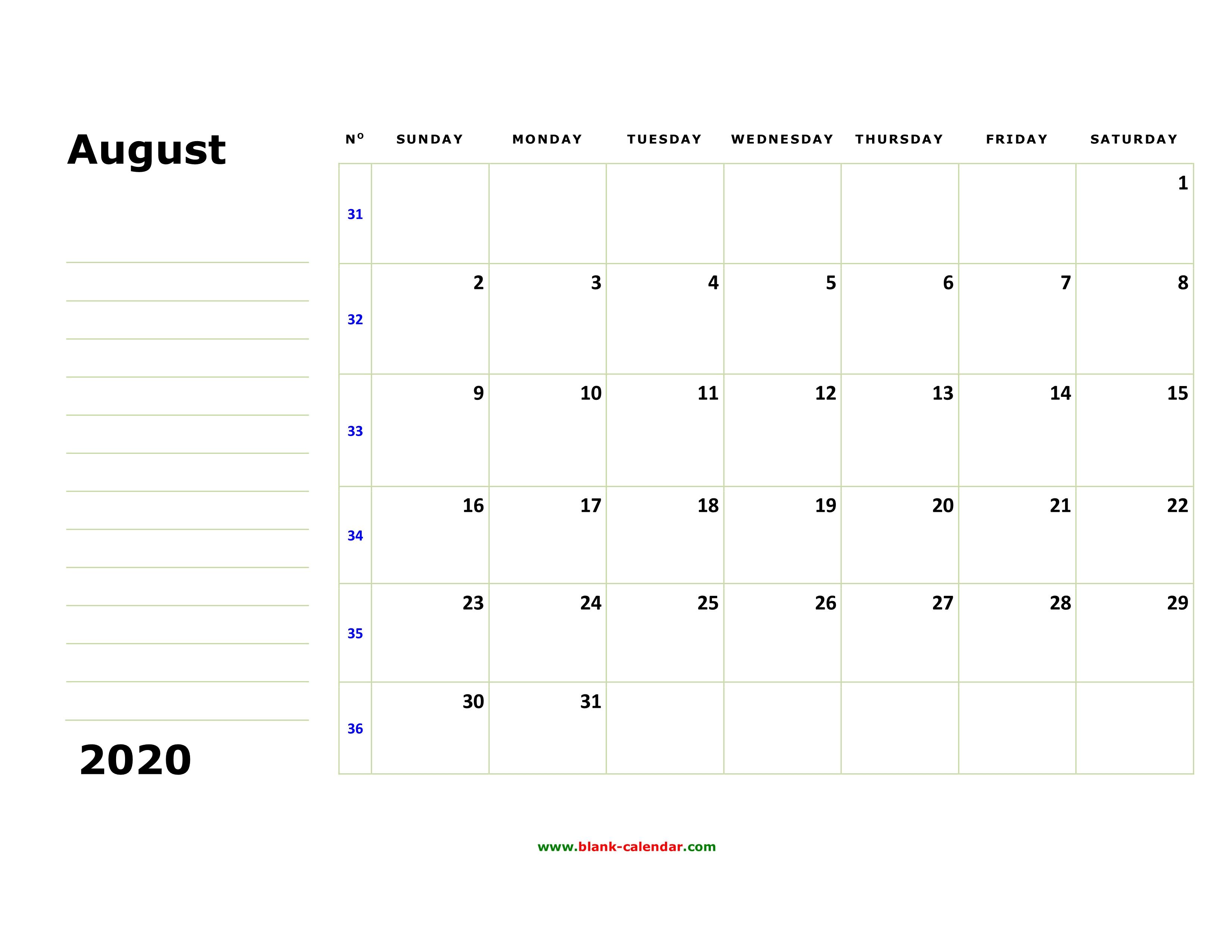 Free Download Printable August 2020 Calendar, Large Box